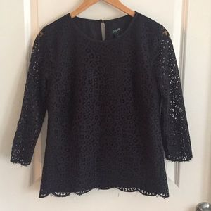 Jcrew Factory Scalloped Lace Top, Black, Sz 8